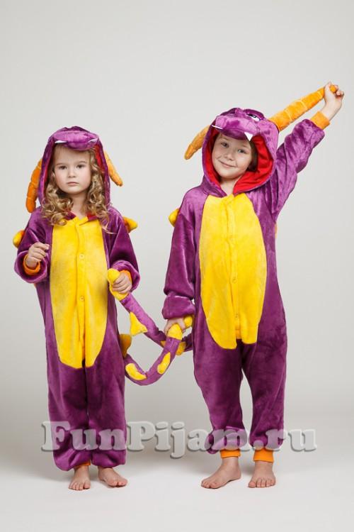 Детская пижама кигуруми Фиолетовый дракон Спайро 84cb7d378792c